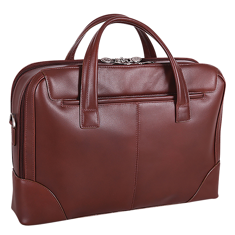 Harpswell Leather Laptop Briefcase - Brown