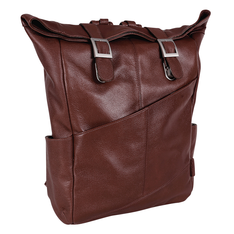 Kennedy Leather Laptop Backpack - Brown
