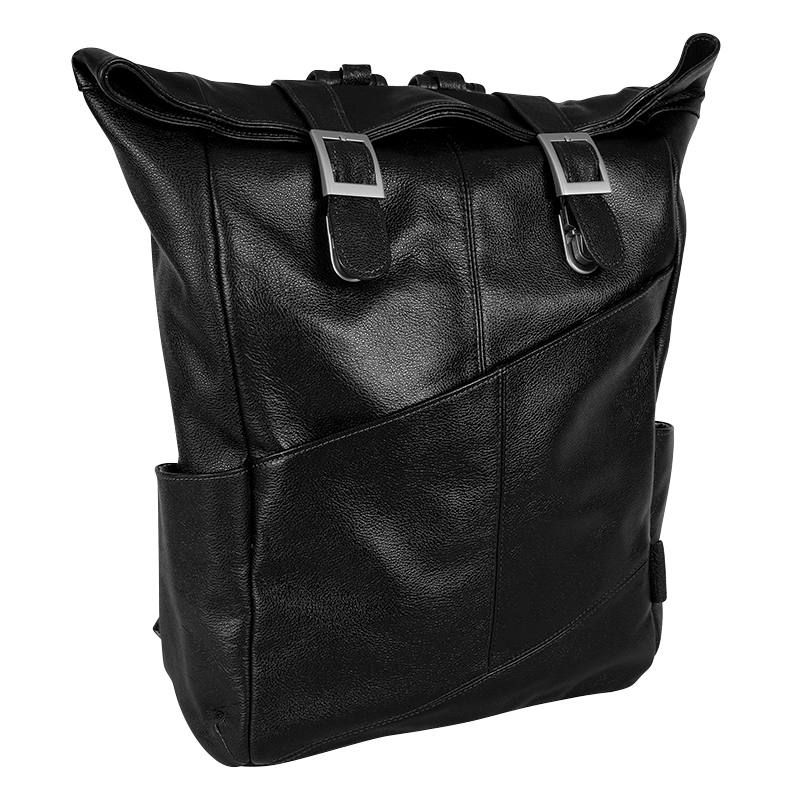 Kennedy Leather Laptop Backpack - Black