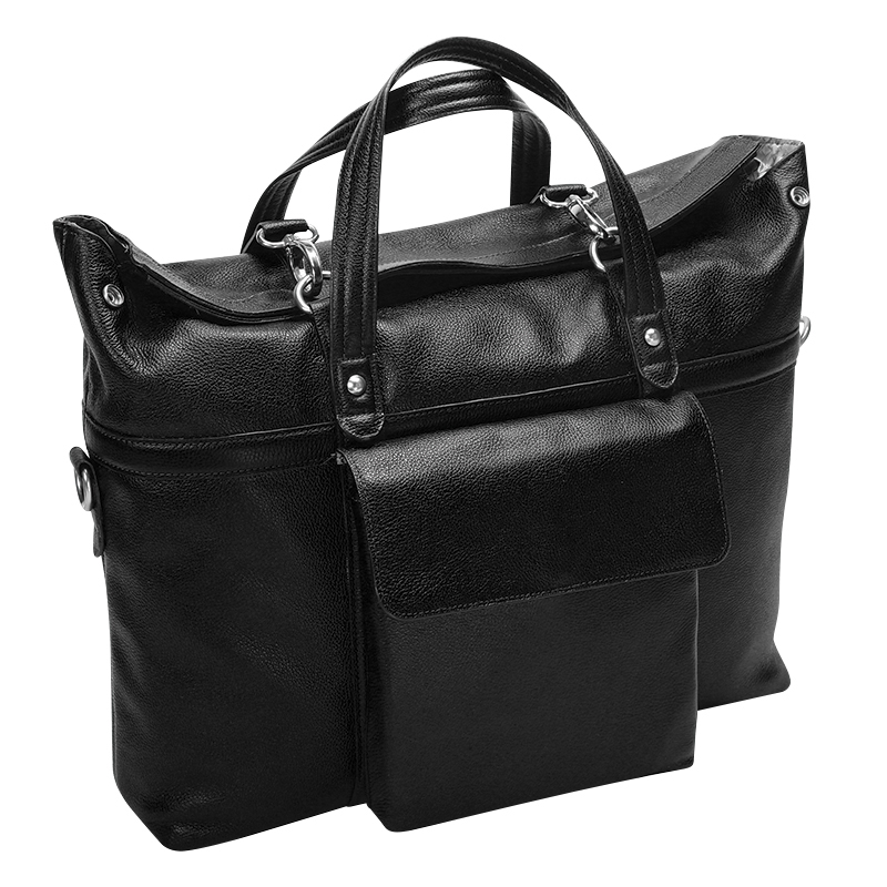 Edgefield Leather Laptop Bag - Black