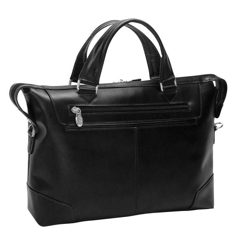 Arcadia Leather Laptop Briefcase - Black