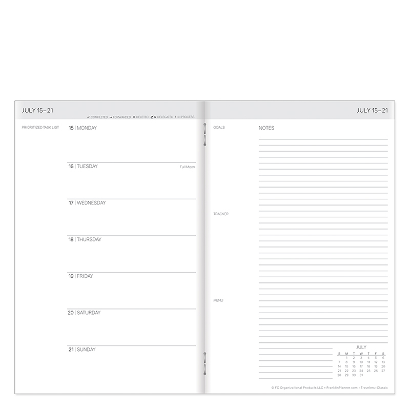 Classic Travelers Weekly Planner Jul 2019 - Jun 2020 - White Cover
