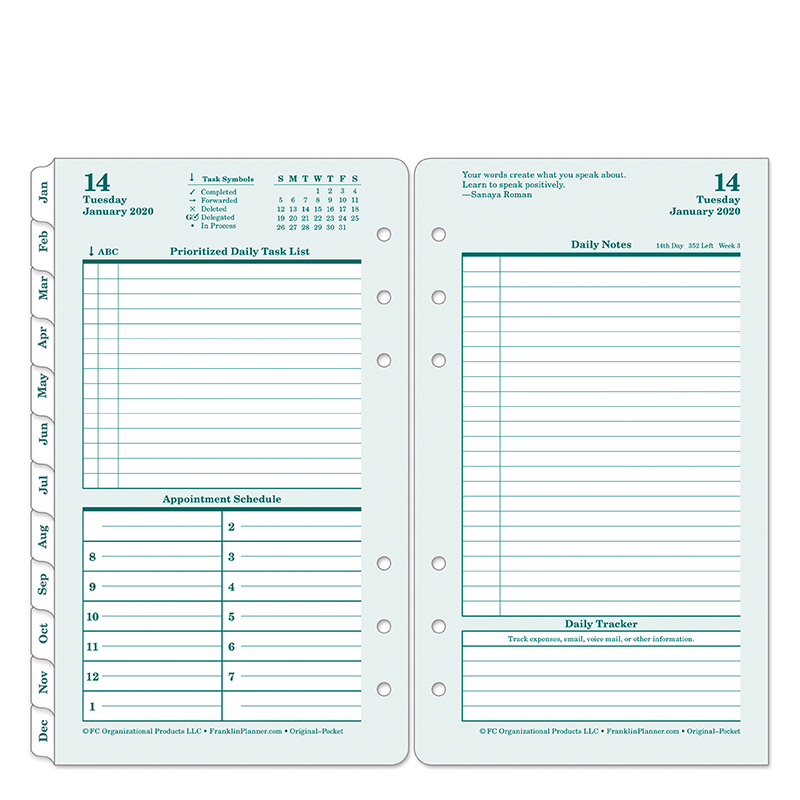 Pocket Original Daily Ring-bound Planner - Jan 2020 - Dec 2020