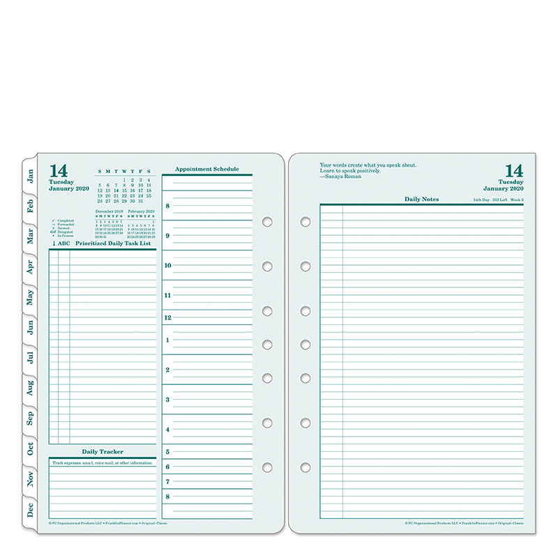 Classic Original Daily Ring-bound Planner - Jan 2020 - Dec 2020
