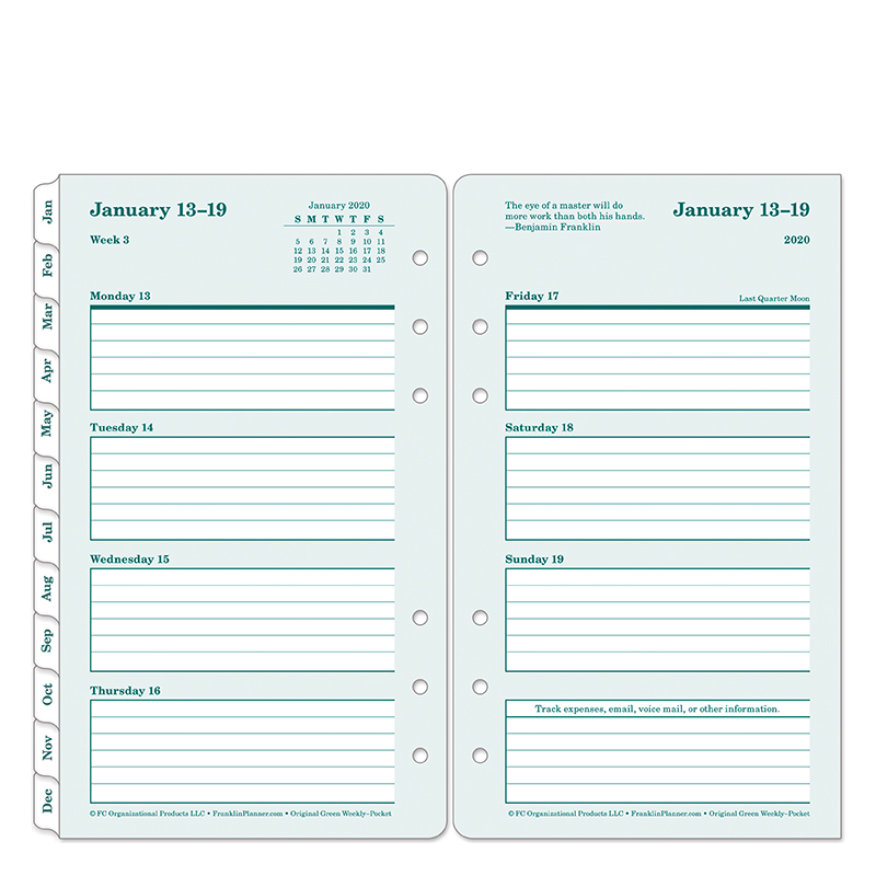Pocket Original Weekly Ring-bound Planner - Jan 2020 - Dec 2020