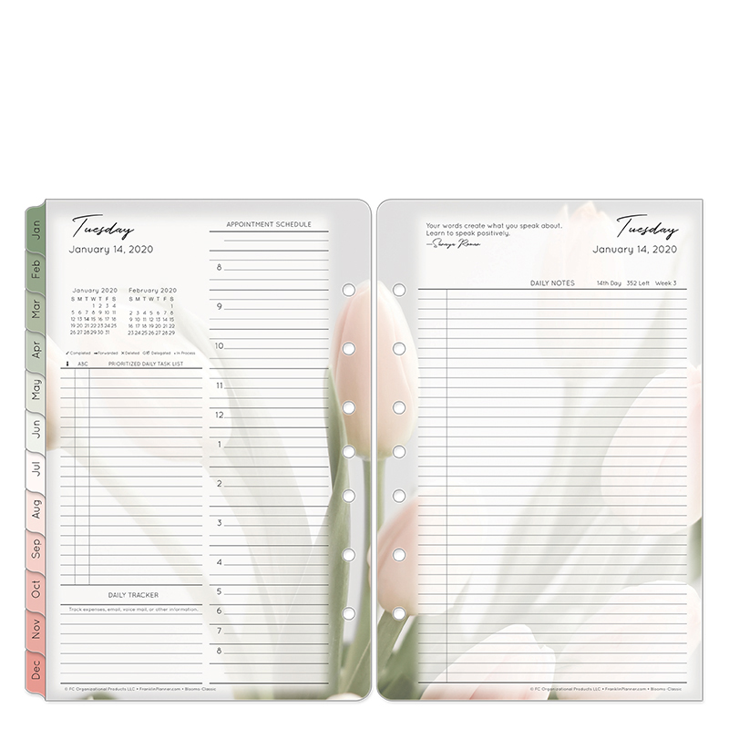 Classic Blooms Daily Ring-bound Planner - Jan 2020 - Dec 2020