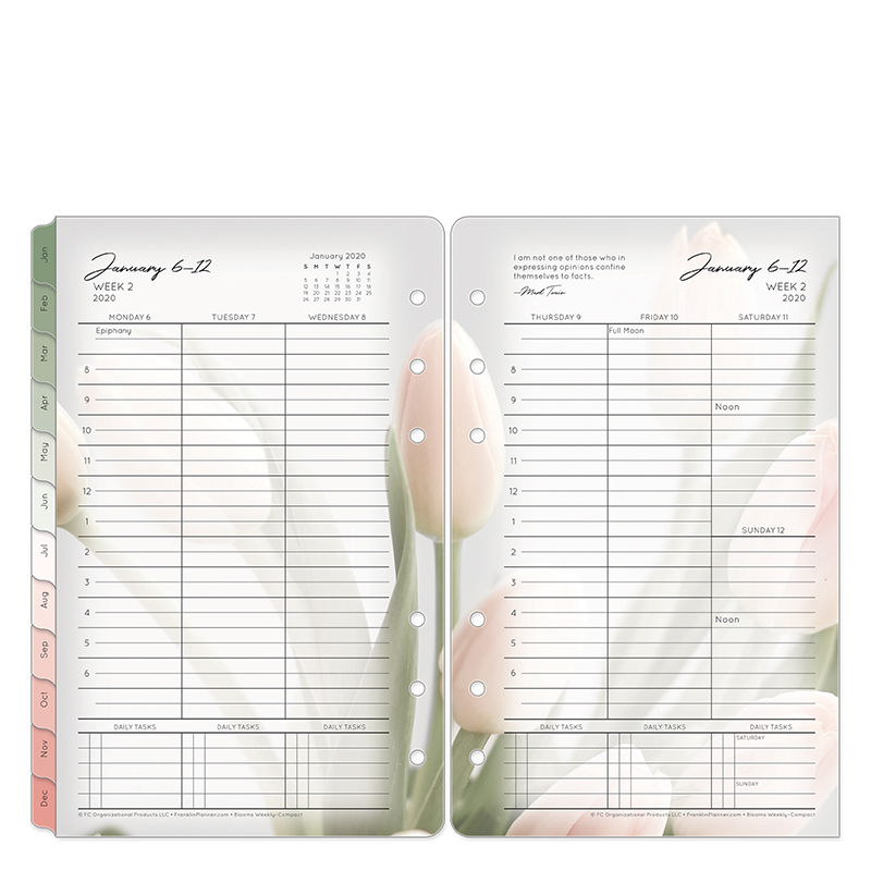 Compact Blooms Weekly Ring-bound Planner - Jan 2020 - Dec 2020