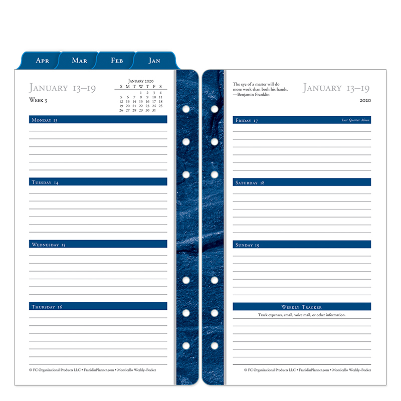 Pocket Monticello Weekly Ring-bound Planner - Jan 2020 - Dec 2020