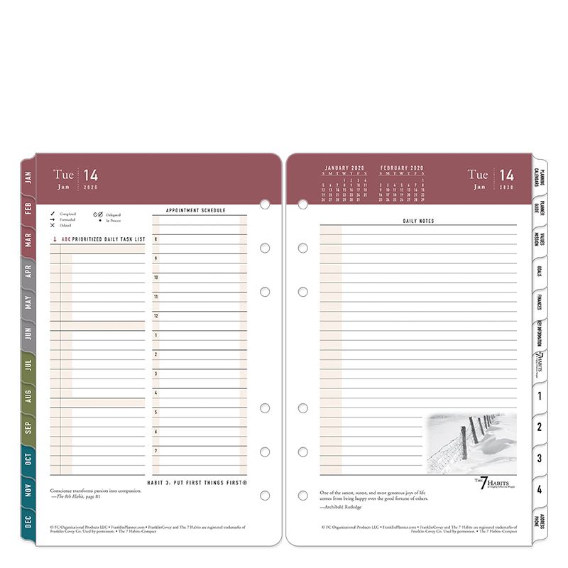 Compact 7 Habits Daily Ring-bound Planner - Jan 2020 - Dec 2020