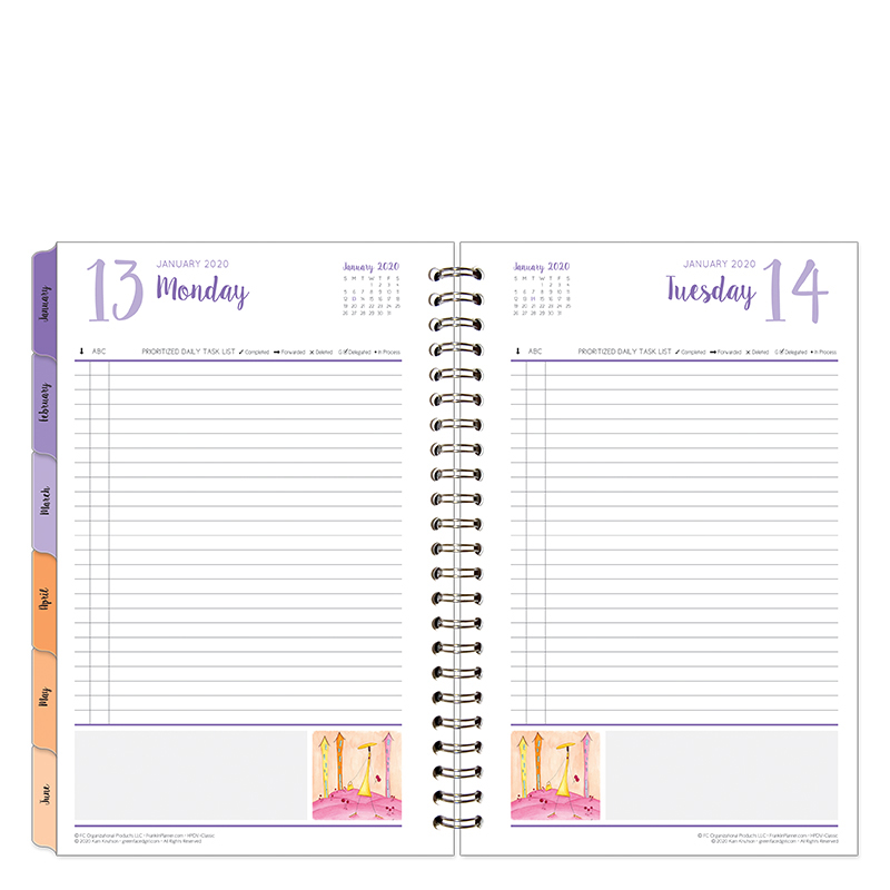 Classic Her Point of View One-Page-Per-Day 6 Month Wire-bound Planner - Jan 2020 - Jun 2020