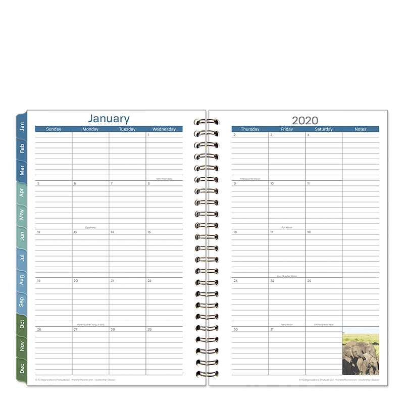 Classic Leadership Monthly Wire-bound Planner - Jan 2020 - Dec 2020