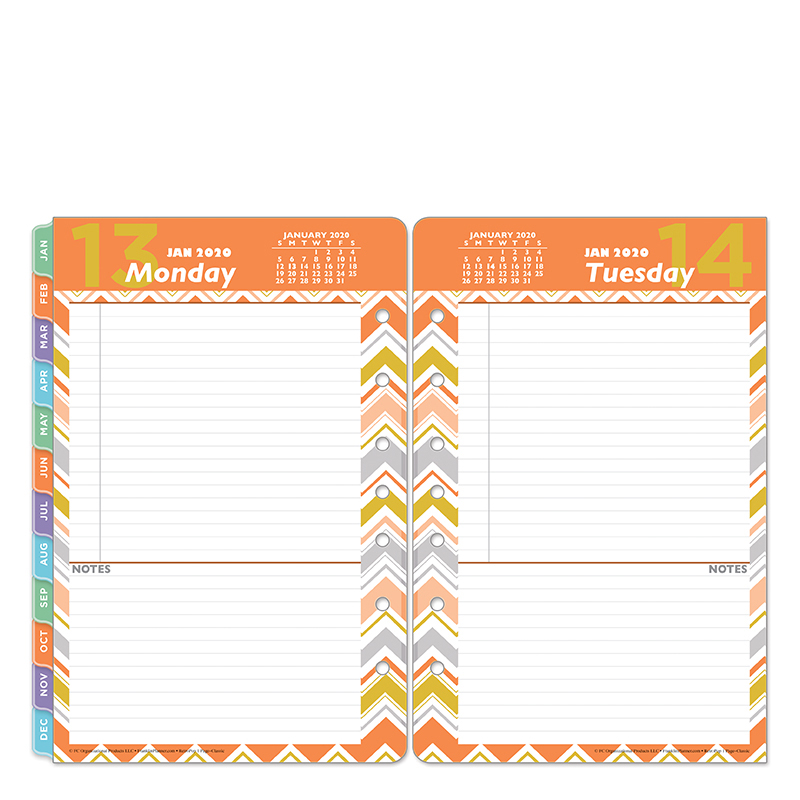 Classic Retropop One-Page-Per-Day Ring-bound Planner - Jan 2020 - Dec 2020