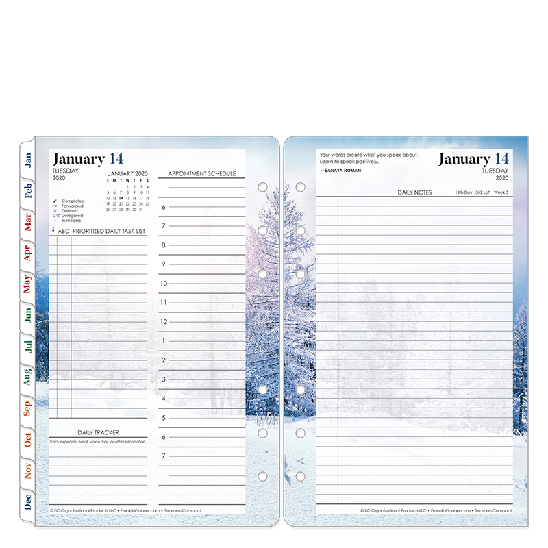 Compact Seasons Daily Ring-bound Planner - Jan 2020 - Dec 2020