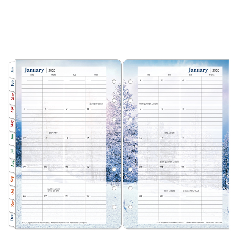 Compact Seasons Two Page Monthly Ring-bound Tabs - Jan 2020 - Dec 2020