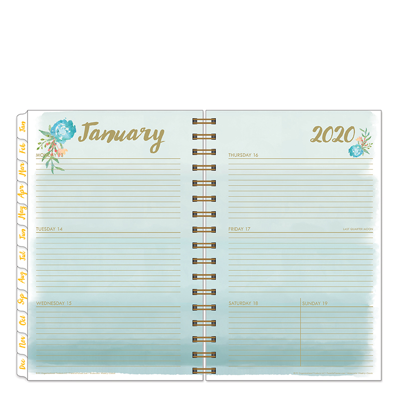Classic Watercolor Weekly Wire-bound Planner - Jan 2020 - Dec 2020