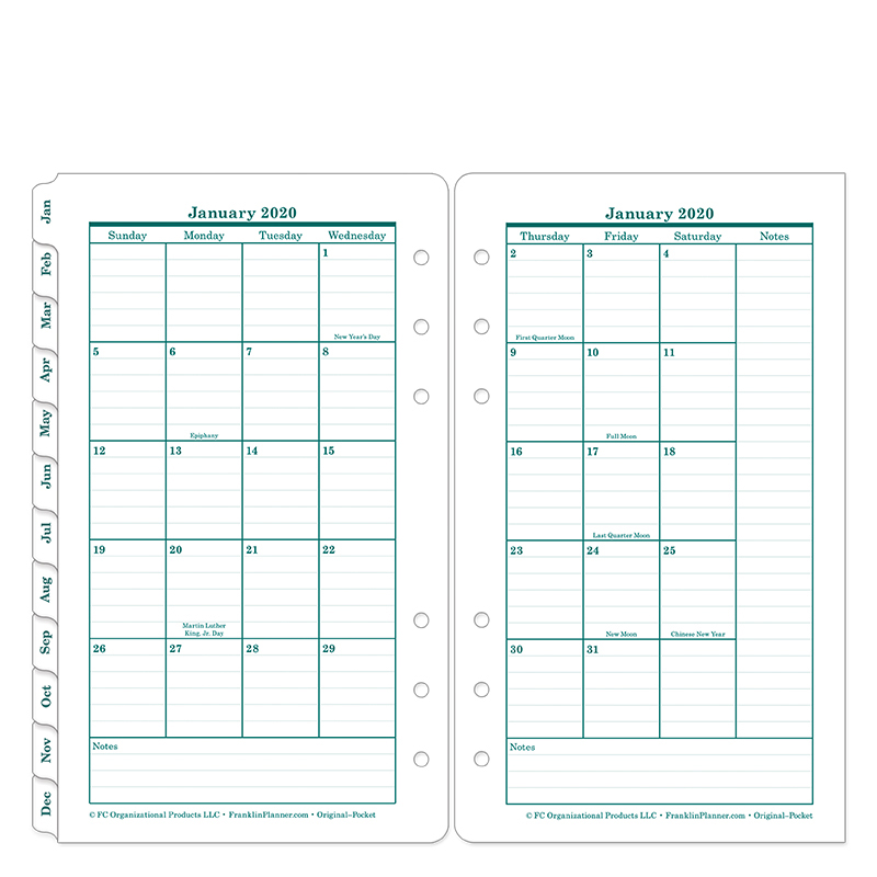 Pocket Original Two Page Monthly Ring-bound  Tabs - Jan 2020 - Dec 2020
