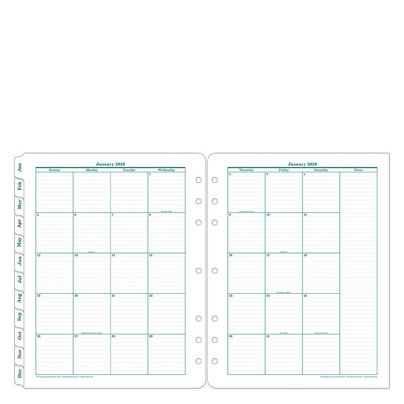 Monarch Original Two Page Monthly Ring-bound  Tabs - Jan 2020 - Dec 2020