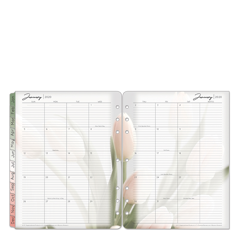 Monarch Blooms Two Page Monthly Ring-bound  Tabs - Jan 2020 - Dec 2020