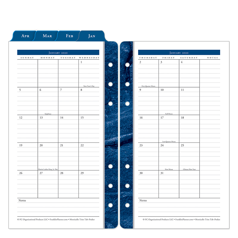 Pocket Monticello Two Page Monthly Ring-bound  Tabs - Jan 2020 - Dec 2020