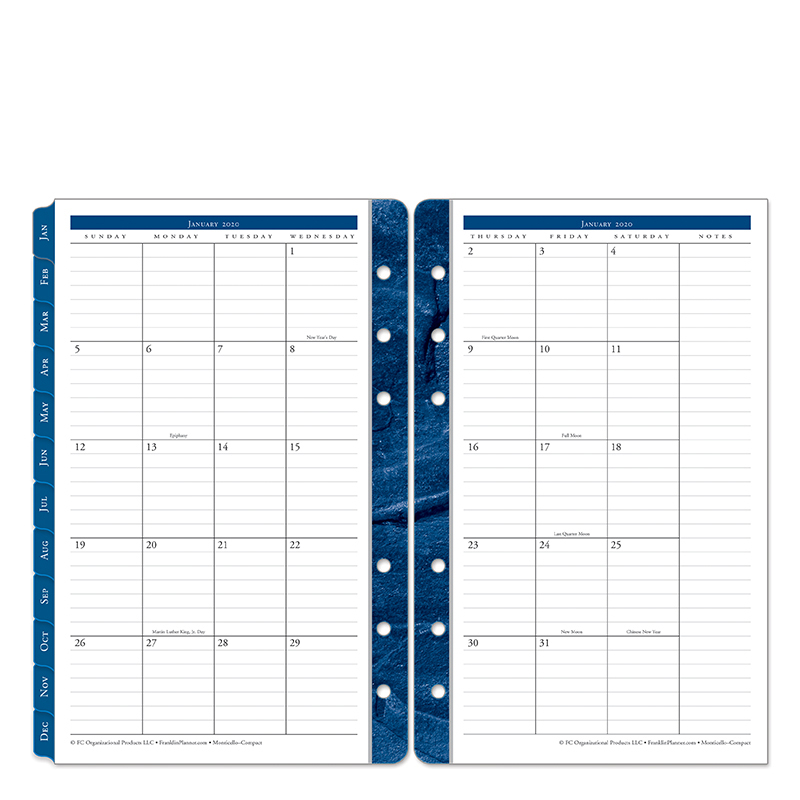 Compact Monticello Two Page Monthly Ring-bound  Tabs - Jan 2020 - Dec 2020