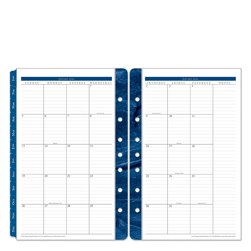 Classic Monticello Two Page Monthly Ring-bound  Tabs - Jan 2020 - Dec 2020