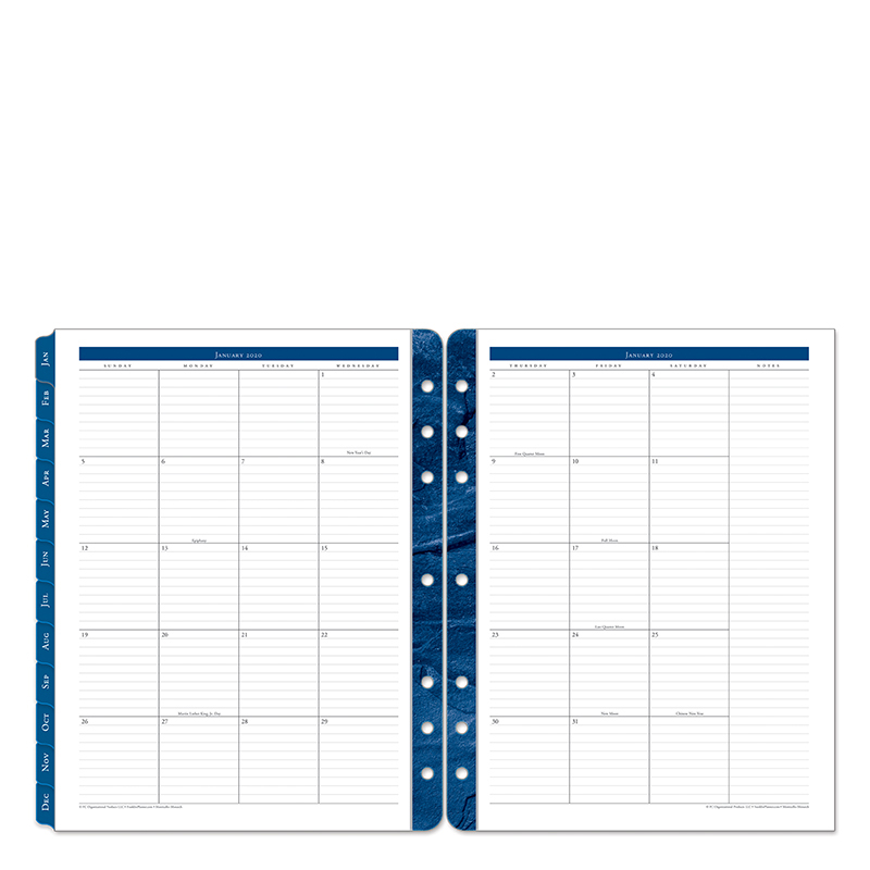 Monarch Monticello Two Page Monthly Ring-bound  Tabs - Jan 2020 - Dec 2020