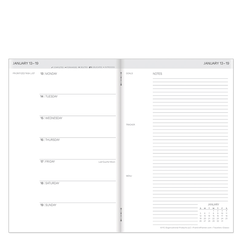 Classic Travelers Weekly Planner - Jan 2020 - Dec 2020 - White Cover