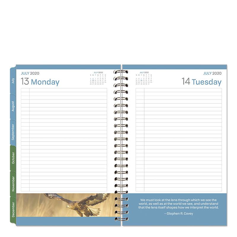 Classic Leadership One-Page-Per-Day 6 Month Wire-bound Planner - Jul 2020 - Dec 2020