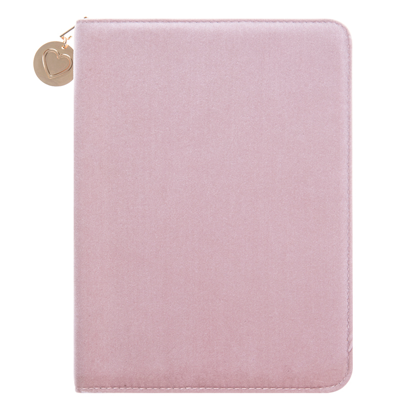 Pink Velvet Folio With Notepad - Pink