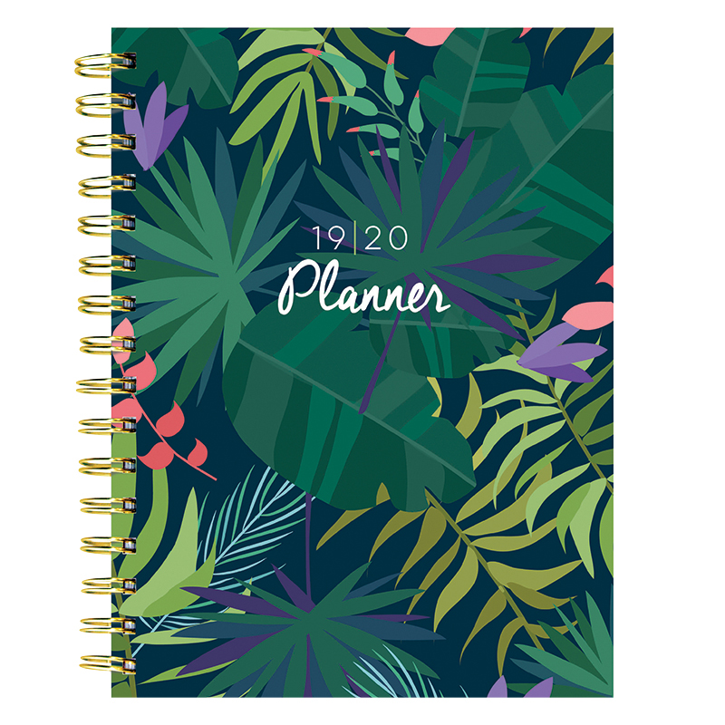 Botanical Leaves Medium Weekly/Monthly Academic Planner - July 2019 - June 2020