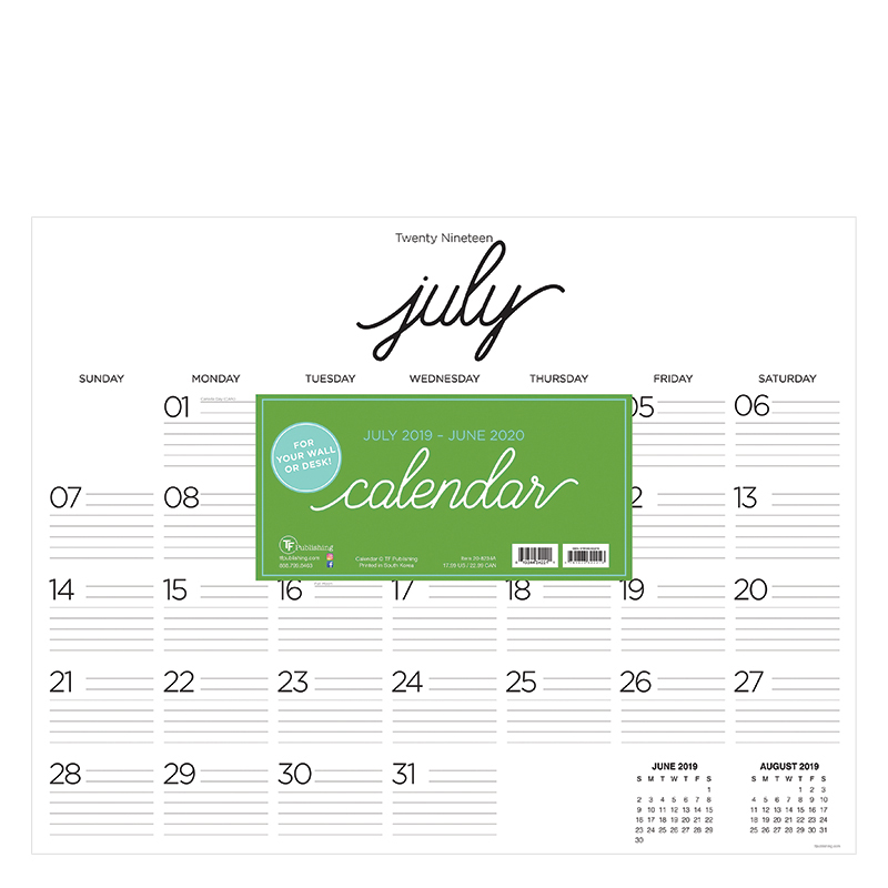 Academic Calligraphy Script Large Desk Pad Calendar - July 2019 - June 2020