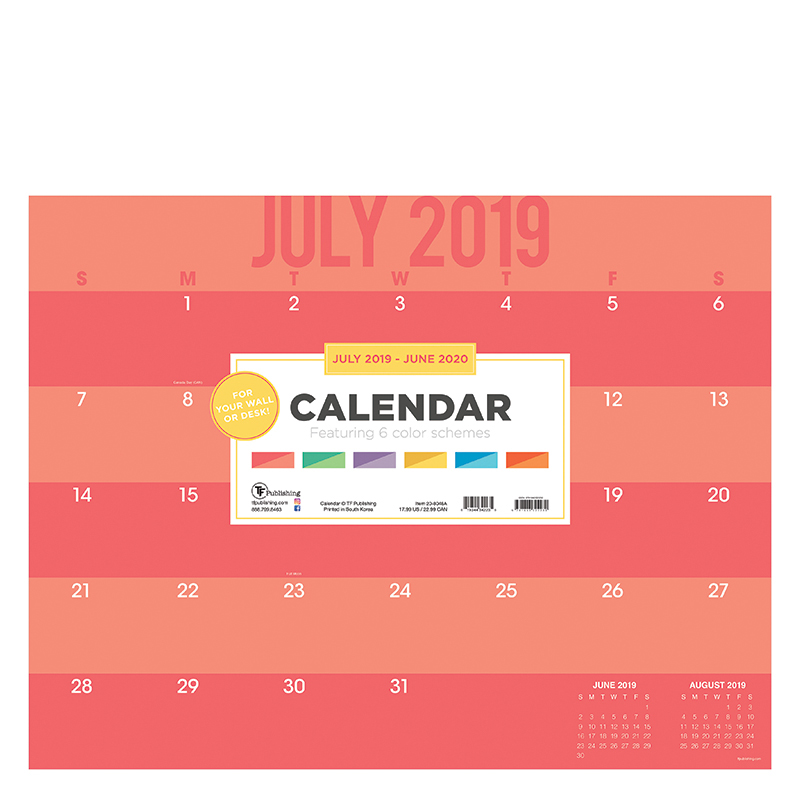 Academic Color Stripes Large Desk Pad Calendar - July 2019 - June 2020