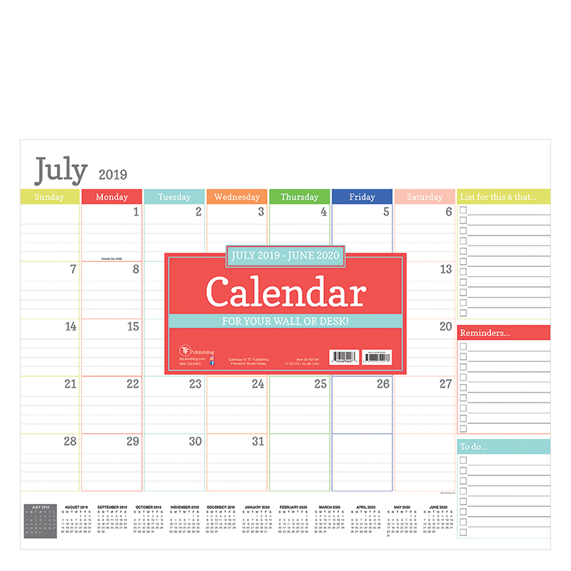 Academic Rainbow Blocks Large Desk Pad Calendar - July 2019 - June 2020