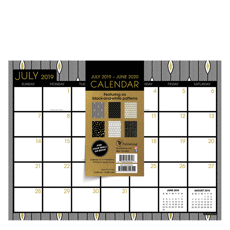 2019 2020 Floral Desk Calendar: Academic Floral Black & Gold Mini 9x12 Desk Pad Calendar