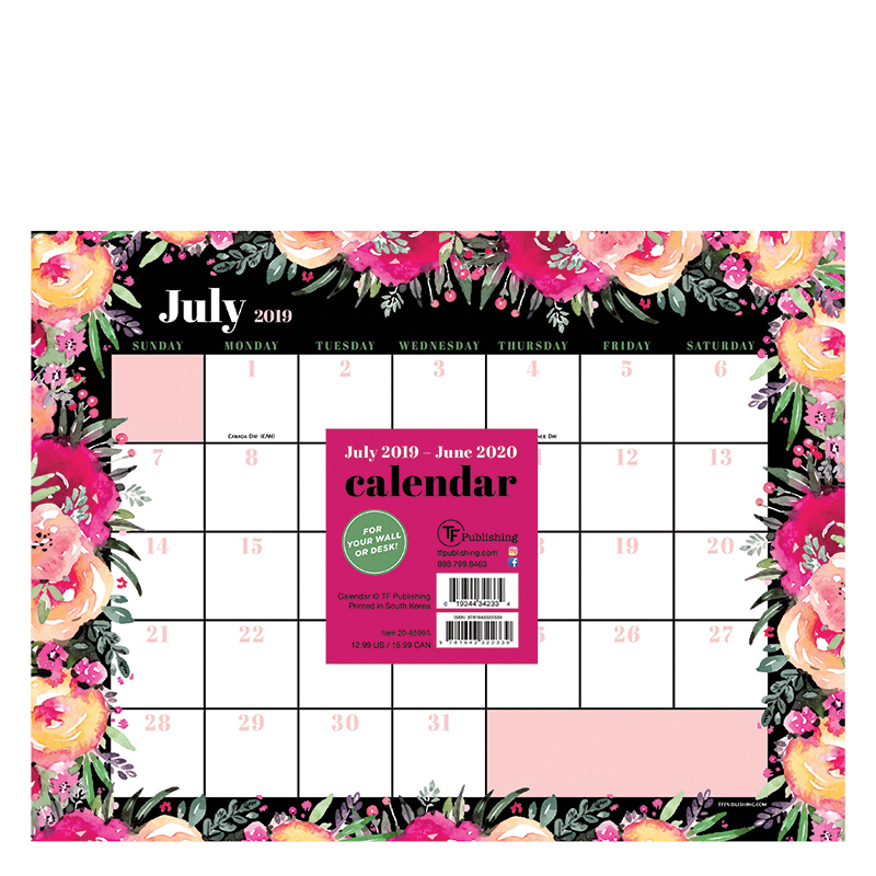 2019 2020 Floral Desk Calendar: Academic Floral Bouquet Mini 9x12 Desk Pad Calendar