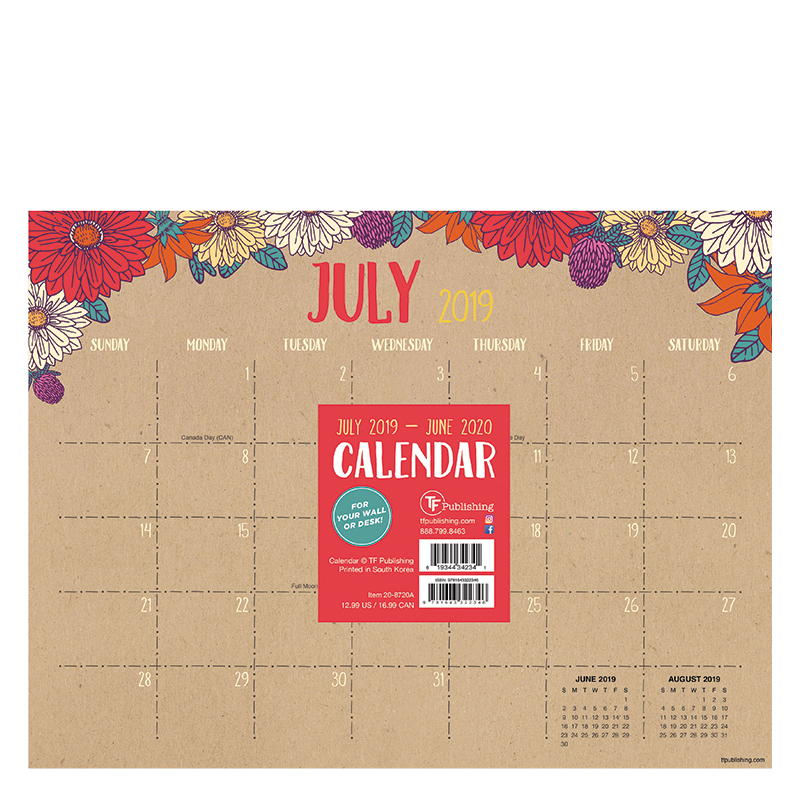 2019 2020 Floral Desk Calendar: Academic Floral Kraft Mini 9x12 Desk Pad Calendar