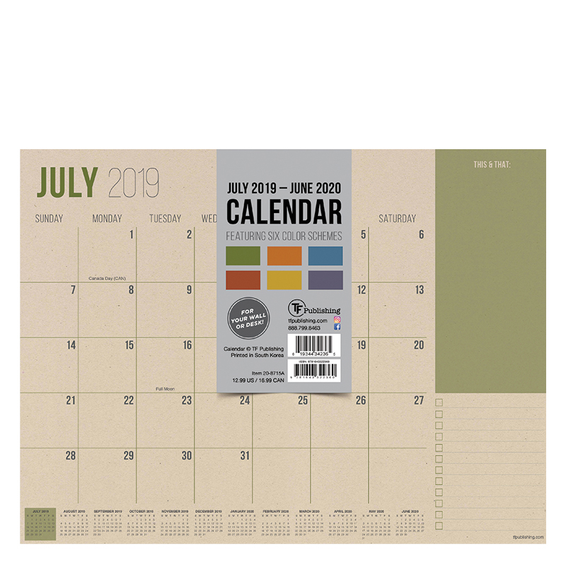 Academic Year Mini 9x12  Desk Pad - Kraft Calendar - July 2019 -June 2020