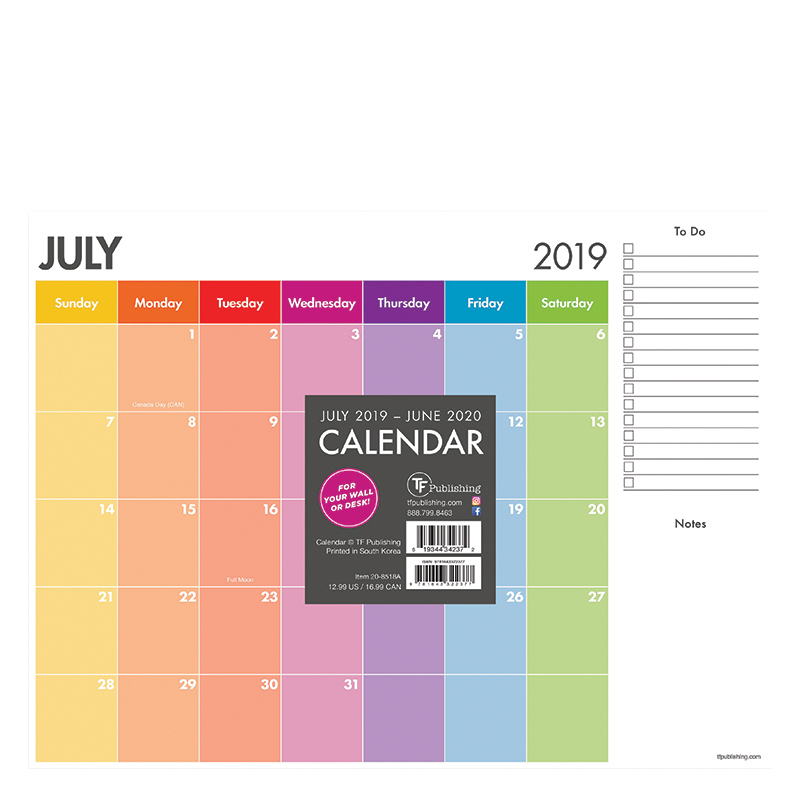 Academic Rainbow Stripe Mini 9x12 Desk Pad Calendar - July 2019 -June 2020