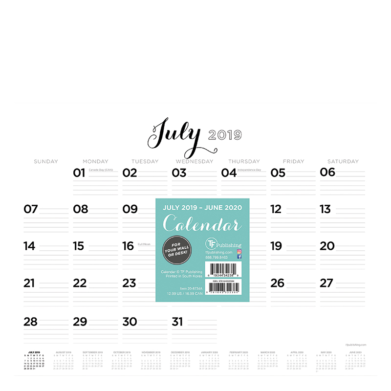 Academic Scripted Lines Mini 9x12 Desk Pad Calendar - July 2019 -June 2020