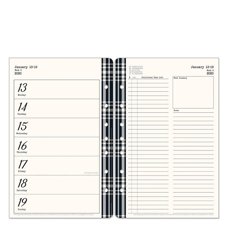 Classic Gingham Farm Planner Love Weekly Ring-bound Planner - Jan 2020 - Dec 2020