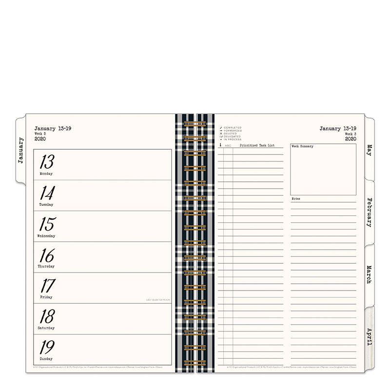 Classic Gingham Farm Planner Love Weekly Wire-bound Planner - Jan 2020 - Dec 2020