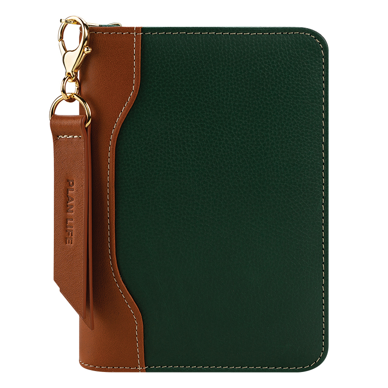 Pocket Libby Leather Zipper Binder - Hunter Green