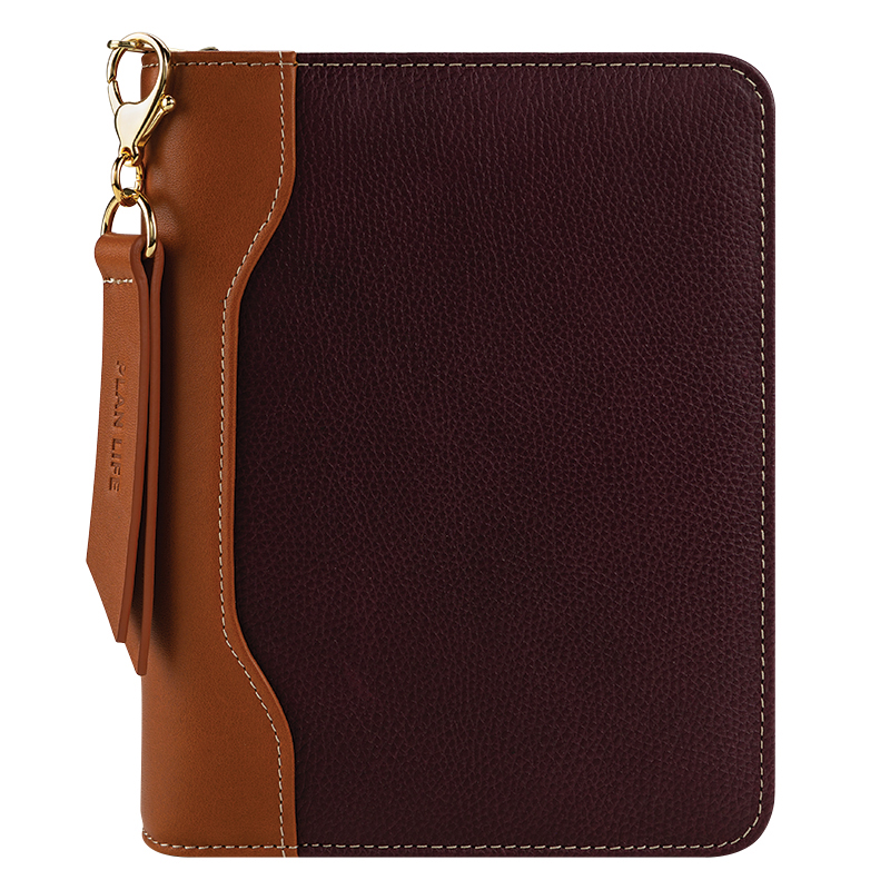 Compact Libby Leather Zipper Binder - Fig