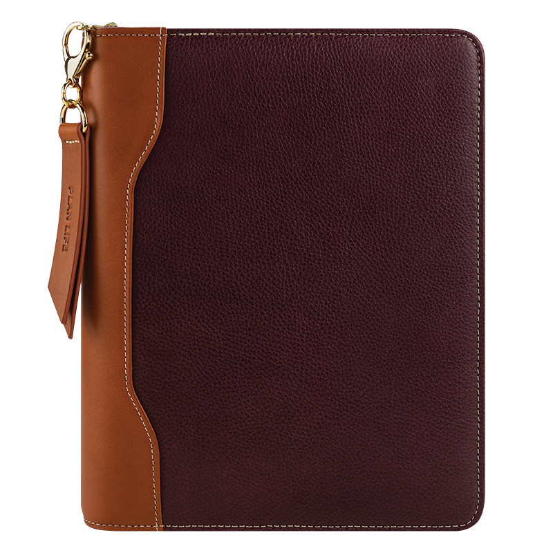 Classic Libby Leather Zipper Binder - Fig