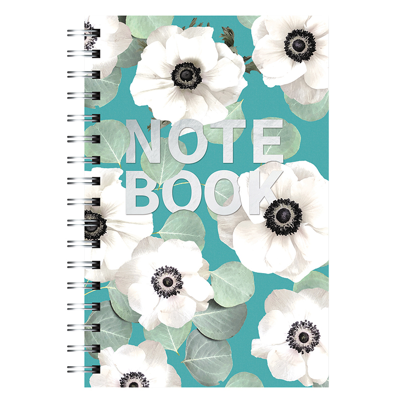 Spiral Medium Notebook - Slate Blue Floral