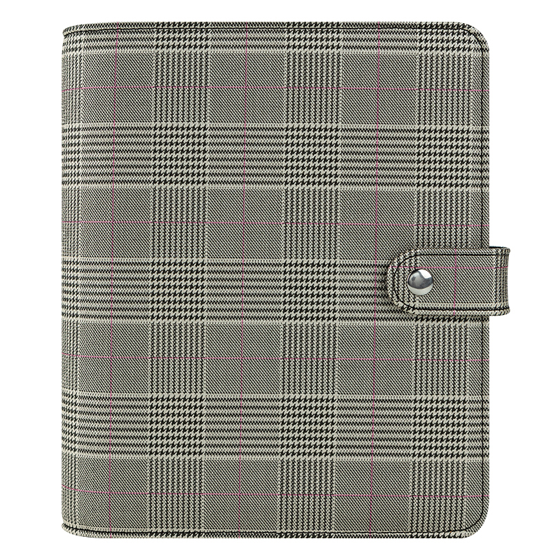 Classic Nora Simulated Leather Snap Binder - Plaid