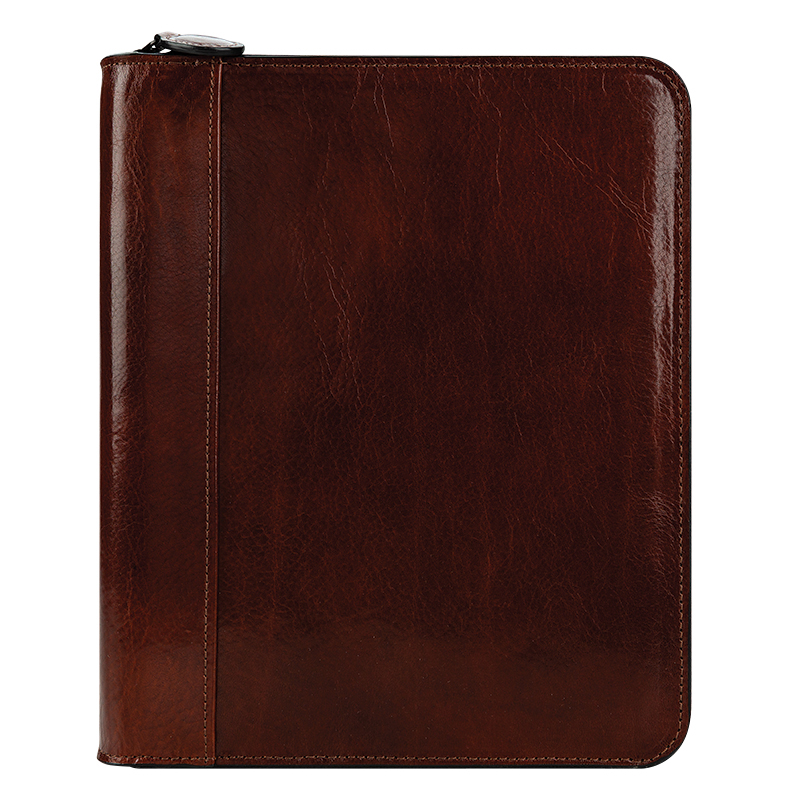 Classic Carter Leather Zipper Binder - Cognac