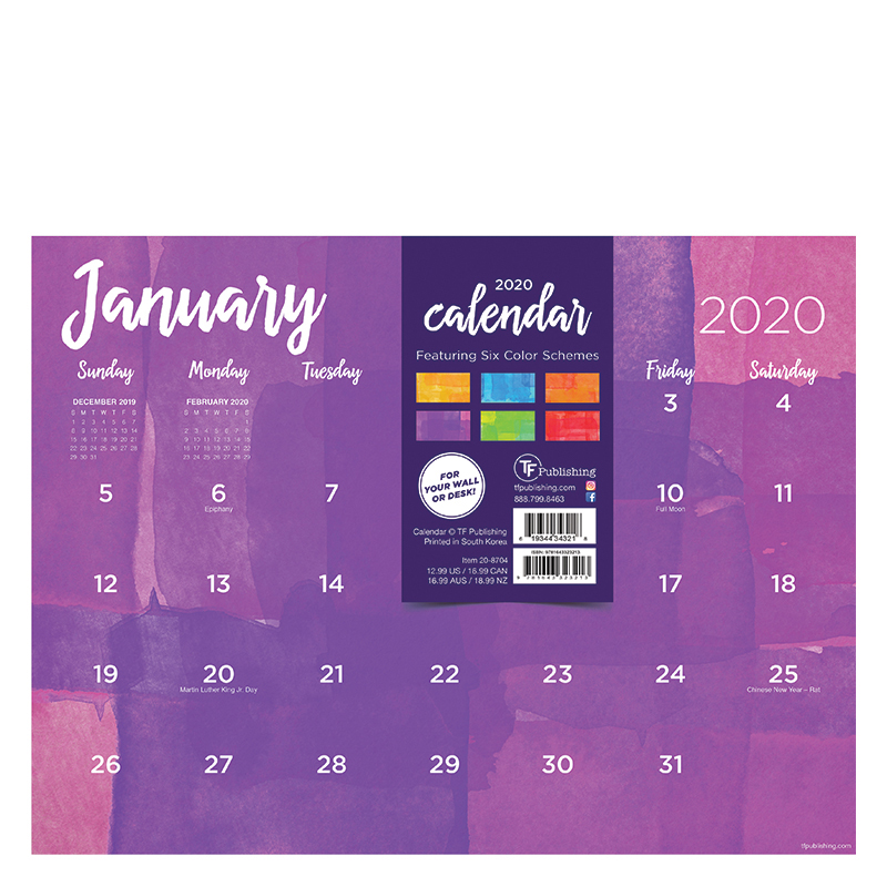 2020 Watercolor Mini Desk Pad Calendar