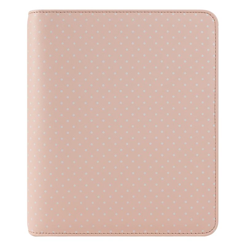 Classic Holly Simulated Leather Zipper Binder - Pink Swiss Dot