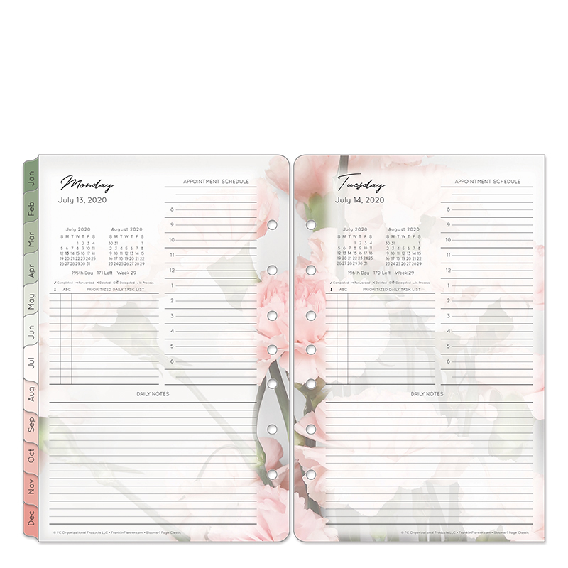 Classic Blooms 1 Page Per Day Ring-bound Planner - Jul 2020 - Jun 2021